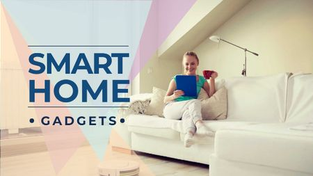 Smart Home ad with Woman using Vacuum Cleaner Title Modelo de Design
