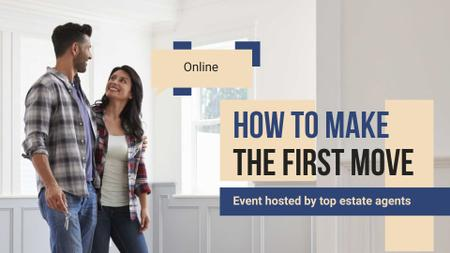 Modèle de visuel Online Event Ad with Couple in New House - FB event cover