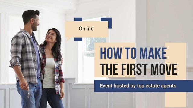 Plantilla de diseño de Online Event Ad with Couple in New House FB event cover