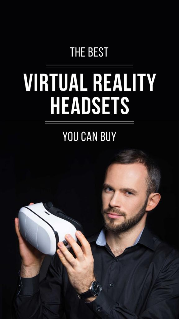 VR equipment Ad with Man holding glasses Instagram Story Modelo de Design
