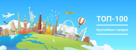 Famous cities attractions Facebook cover – шаблон для дизайна