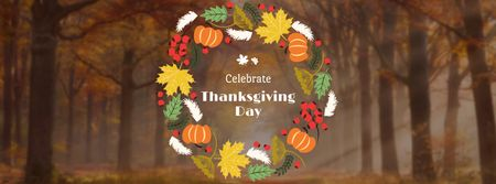 Thanksgiving Day Greeting in Autumn Wreath Facebook cover – шаблон для дизайну