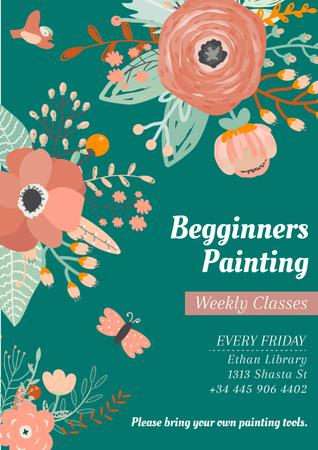 Painting Classes Ad with Tender Flowers Drawing Poster – шаблон для дизайна