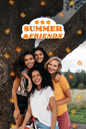 Designvorlage Summer Inspiration with Friends near Tree für Pinterest