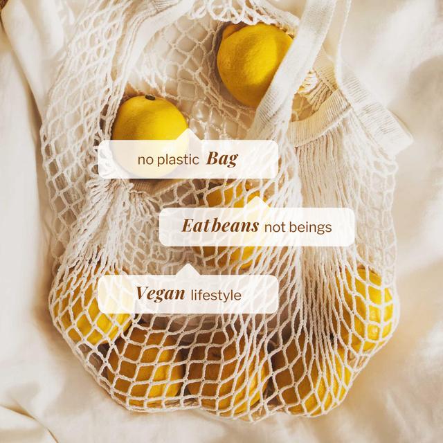 Vegan Lifestyle Concept with Lemons in Eco Bag Instagram – шаблон для дизайну
