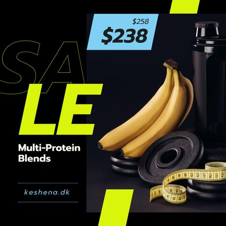 Plantilla de diseño de Sports Nutrition Offer Bananas and Weights Instagram AD