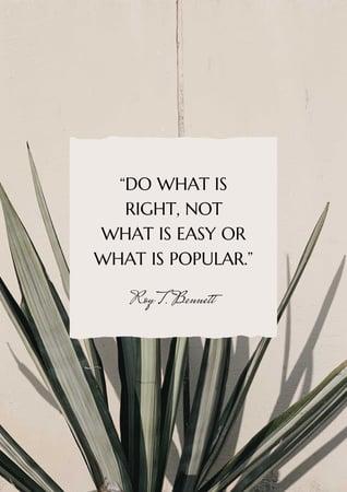 Plantilla de diseño de Inspirational quote on Tropical plant Poster