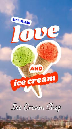 Modèle de visuel Delicious Ice Cream with Colorful Balls - Instagram Story