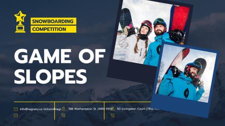 Modèle de visuel Snowboarding Competition announcement people with Boards - FB event cover