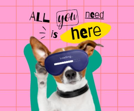 Funny Cute Dog in Sleep Eye Mask Large Rectangle – шаблон для дизайну