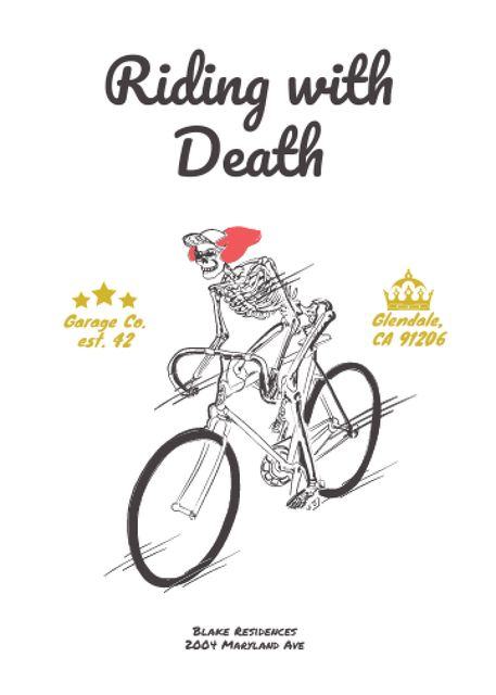 Ontwerpsjabloon van Flayer van Cycling Event with Skeleton Riding on Bicycle