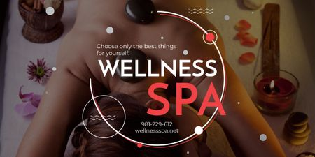 Plantilla de diseño de Wellness Spa Ad Woman Relaxing at Stones Massage Image