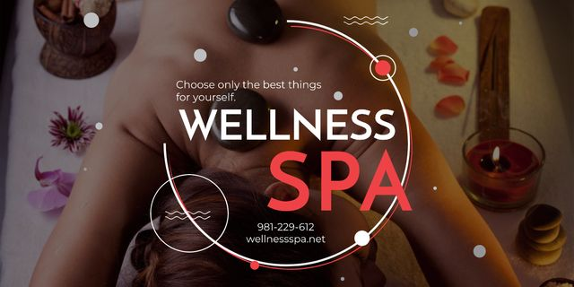 Wellness Spa Ad Woman Relaxing at Stones Massage Image – шаблон для дизайна