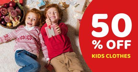 Designvorlage New Year Discount Offer on Kids Clothes für Facebook AD