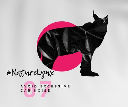 Modèle de visuel Fauna Protection with Lynx on Pink - Facebook