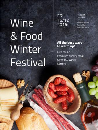 Food Festival invitation Wine and Snacks Poster US – шаблон для дизайну