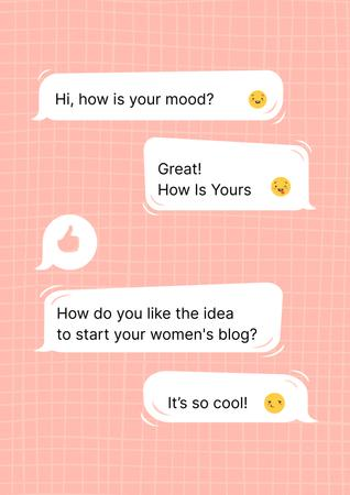 Girl Power Inspiration with Online Chatting Poster – шаблон для дизайна