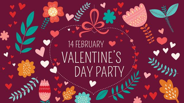Valentine's Day Party Announcement FB event cover Modelo de Design