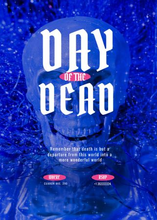 Day of the Dead Holiday Party with Blue Skull Invitation – шаблон для дизайна