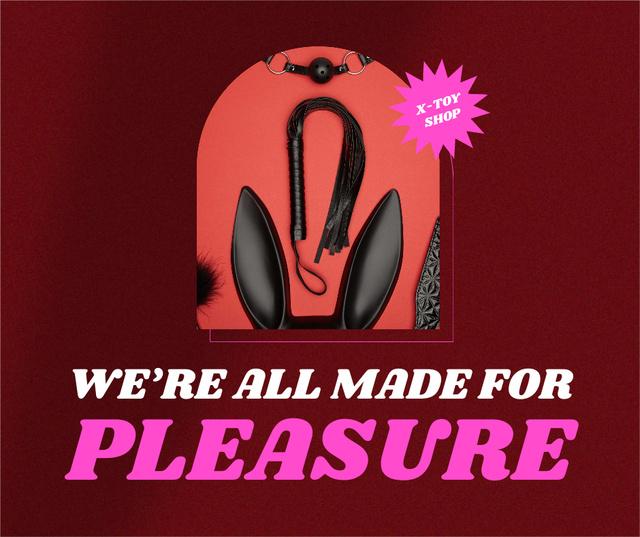 Sex Shop Offer with Black Whip Facebook Design Template