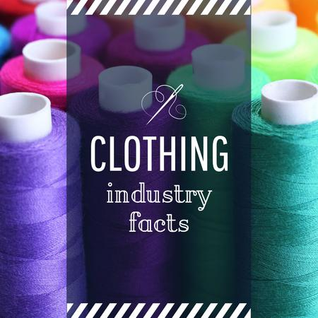 Modèle de visuel Clothing Industry Facts Spools Colorful Thread - Instagram AD