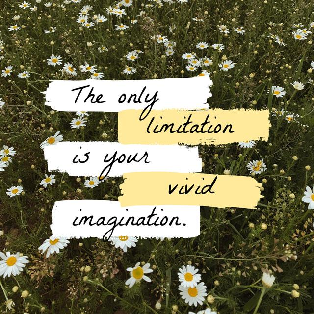 Ontwerpsjabloon van Instagram van Imagination Quote on blooming Meadow
