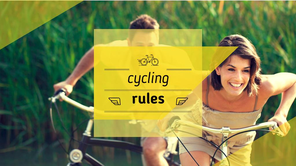 Couple riding Bicycles Youtube Design Template