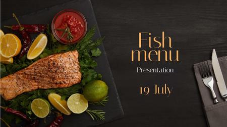Designvorlage Seafood Offer raw Salmon piece für FB event cover