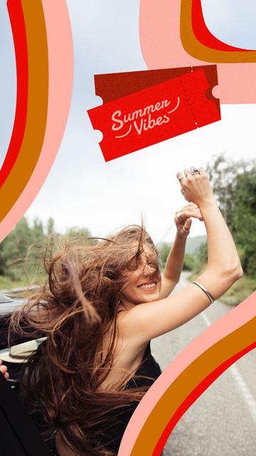 Summer Inspiration with Happy Girl in Car Instagram Story – шаблон для дизайну