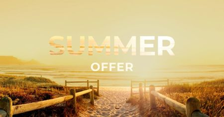 Summer Offer with sunny Beach Facebook AD Design Template