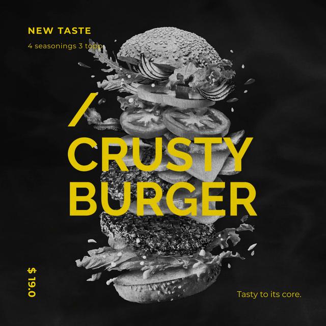 Fast Food Menu Putting Together Cheeseburger Layers Animated Post Modelo de Design