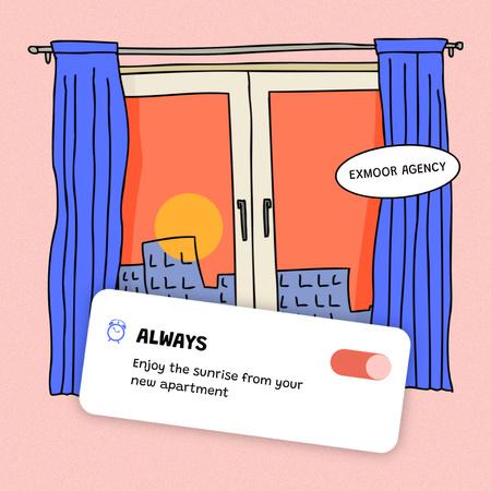 Real Estate Offer with Window Illustration Instagram – шаблон для дизайну