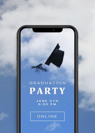 Ontwerpsjabloon van Invitation van Graduation Party Announcement with Hat on Phone Screen