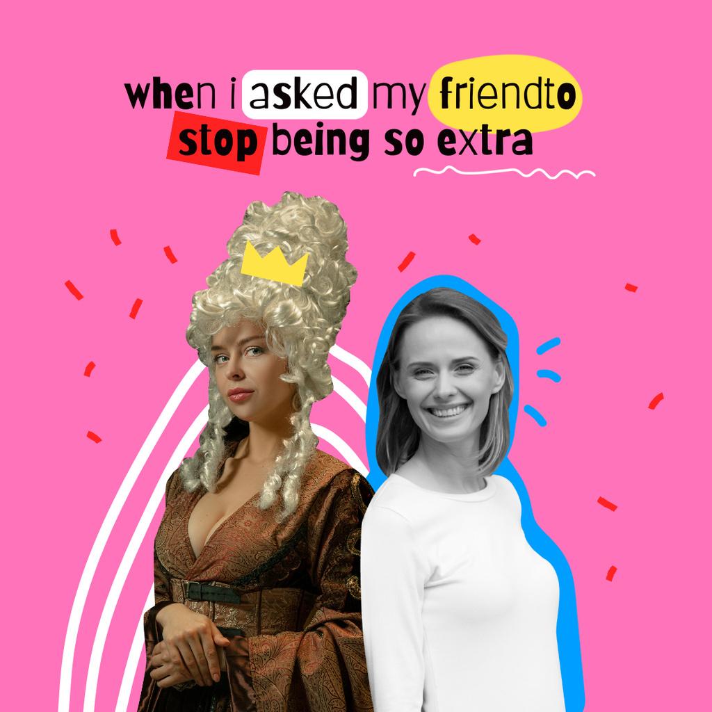 Funny Joke with Girl in Queen's Costume Instagram – шаблон для дизайну