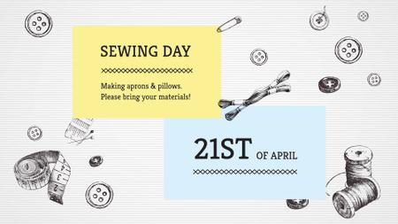 Plantilla de diseño de Illustration of Threads for Sewing FB event cover