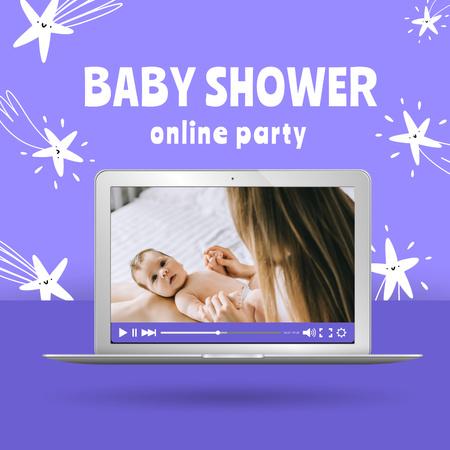 Ontwerpsjabloon van Instagram van Baby Shower Online Party Announcement