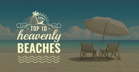 Template di design Deckchairs and umbrella on the beach Facebook AD