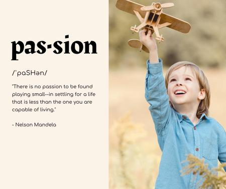 Inspirational Quote with Kid holding Wooden Toy Plane Facebook – шаблон для дизайна