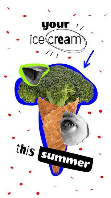 Funny Illustration of Broccoli in Waffle Cone Instagram Story – шаблон для дизайну