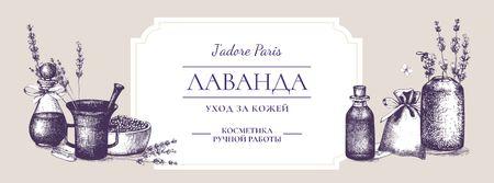 Homemade Cosmetics Ad with Purple Lavender Facebook cover – шаблон для дизайна