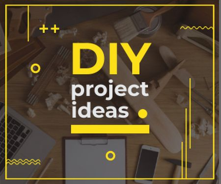 Diy project ideas banner  Large Rectangle Modelo de Design
