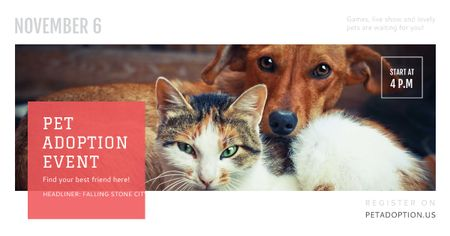 Pet adoption Event with Cute Cat and Dog Facebook AD Modelo de Design