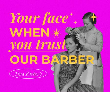 Ontwerpsjabloon van Facebook van Funny Woman in Vintage Outfit in Barber
