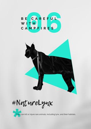 Modèle de visuel Fauna Protection Campaign with Lynx Illustration - Poster