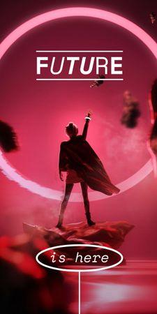 Innovation Ad with Woman in Superhero Cloak Graphic Modelo de Design