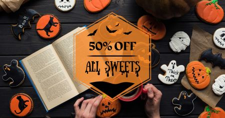Ontwerpsjabloon van Facebook AD van Halloween Cookies Sale with Pumpkin