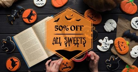 Halloween Cookies Sale with Pumpkin Facebook AD Modelo de Design