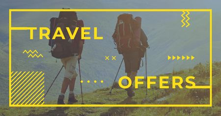 Travel Inspiration with Backpackers in Mountains Facebook AD – шаблон для дизайну