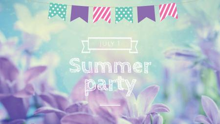 Summer Party Announcement with Violets FB event cover – шаблон для дизайну