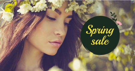 Spring Sale with Woman in Flower Wreath Facebook AD Modelo de Design